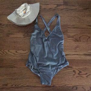 Swim - One-piece, gray w/criss-cross back straps
